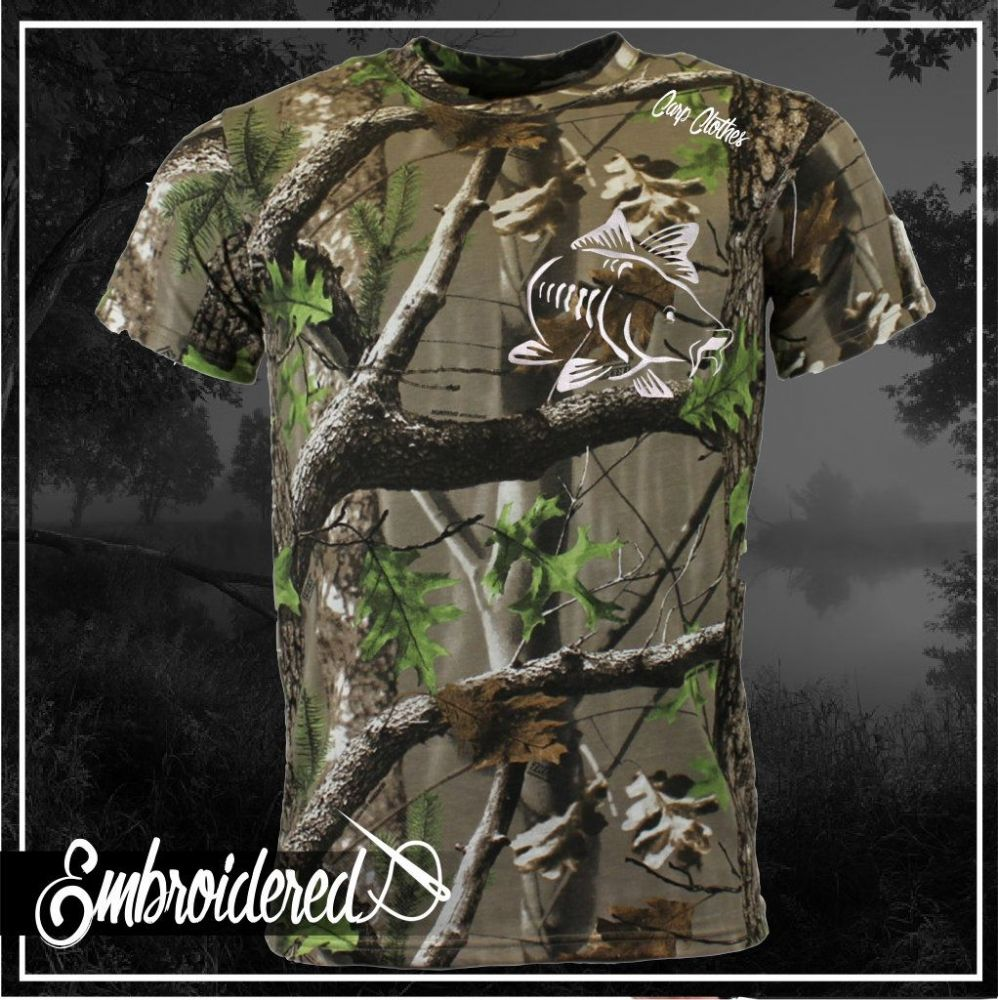 003 EMBROIDERED TREE CAMO T SHIRT